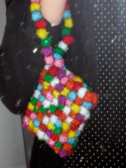 Finished product: Pompon wristlet