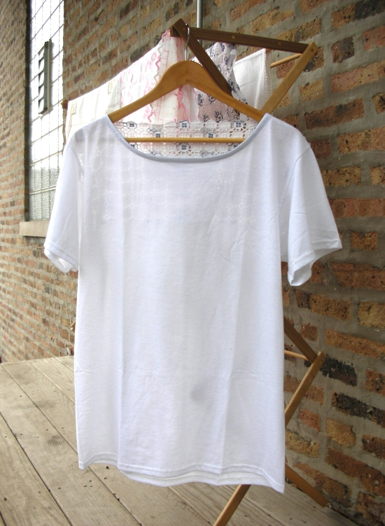 T-shirt refashion using vintage linens